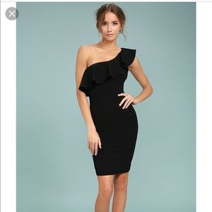 One shoulder bodycon cocktail dress